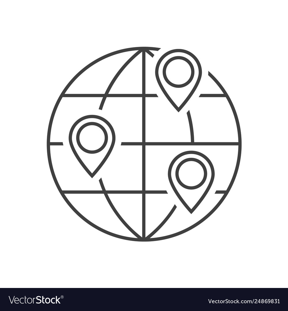 Location on globe outline icon