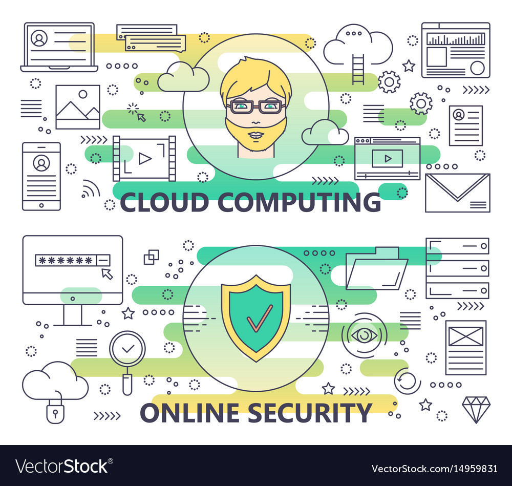Modern thin line cloud computing and online