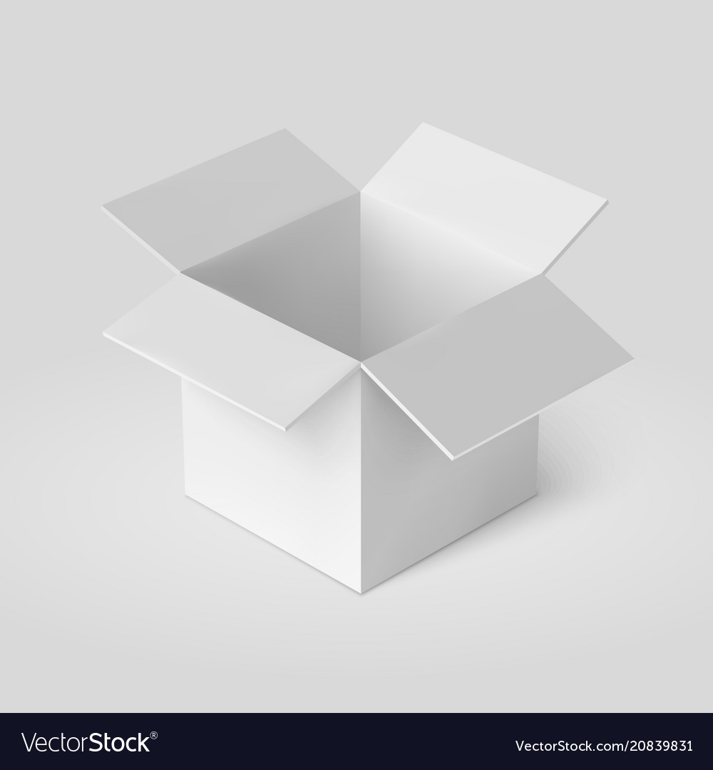 Open Box Template Isolated On White Vector Image