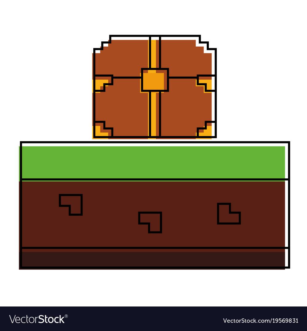Pixelated video game treasure chest