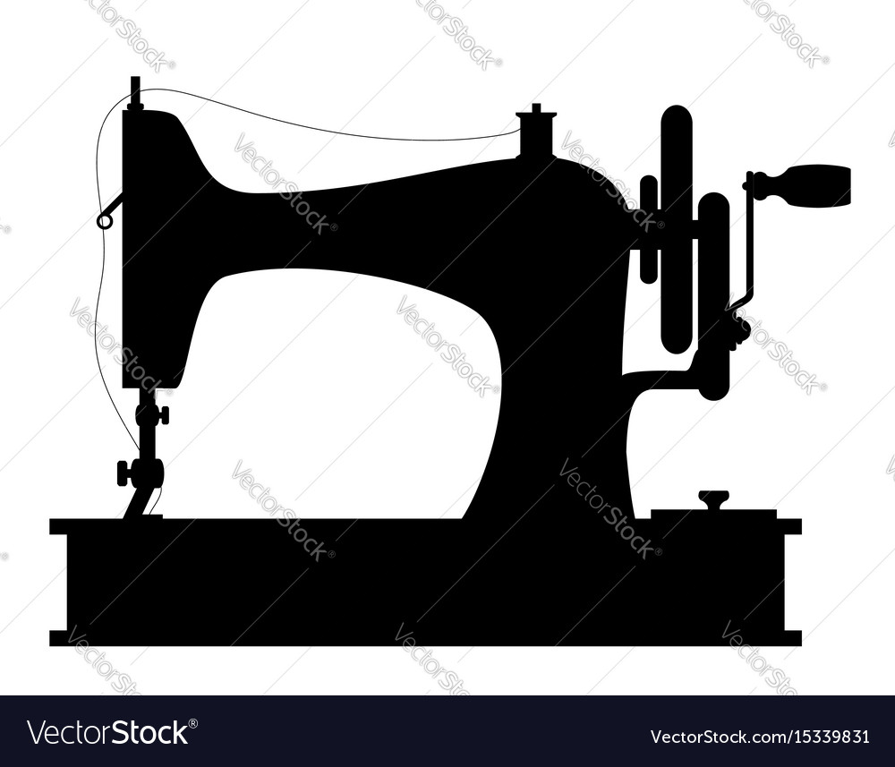 Sewing machine old retro vintage icon stock