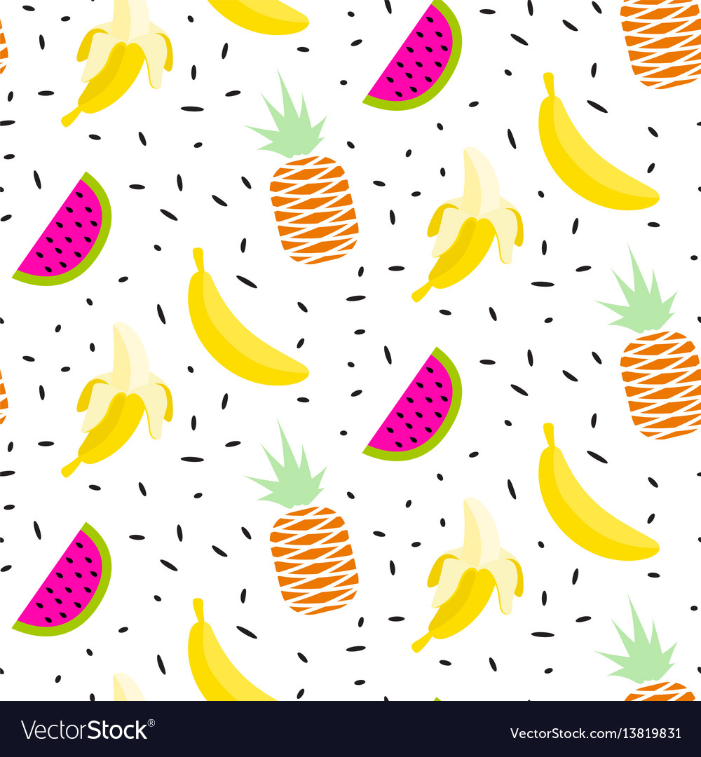 Summer fruit pattern with bananas pineapples and
