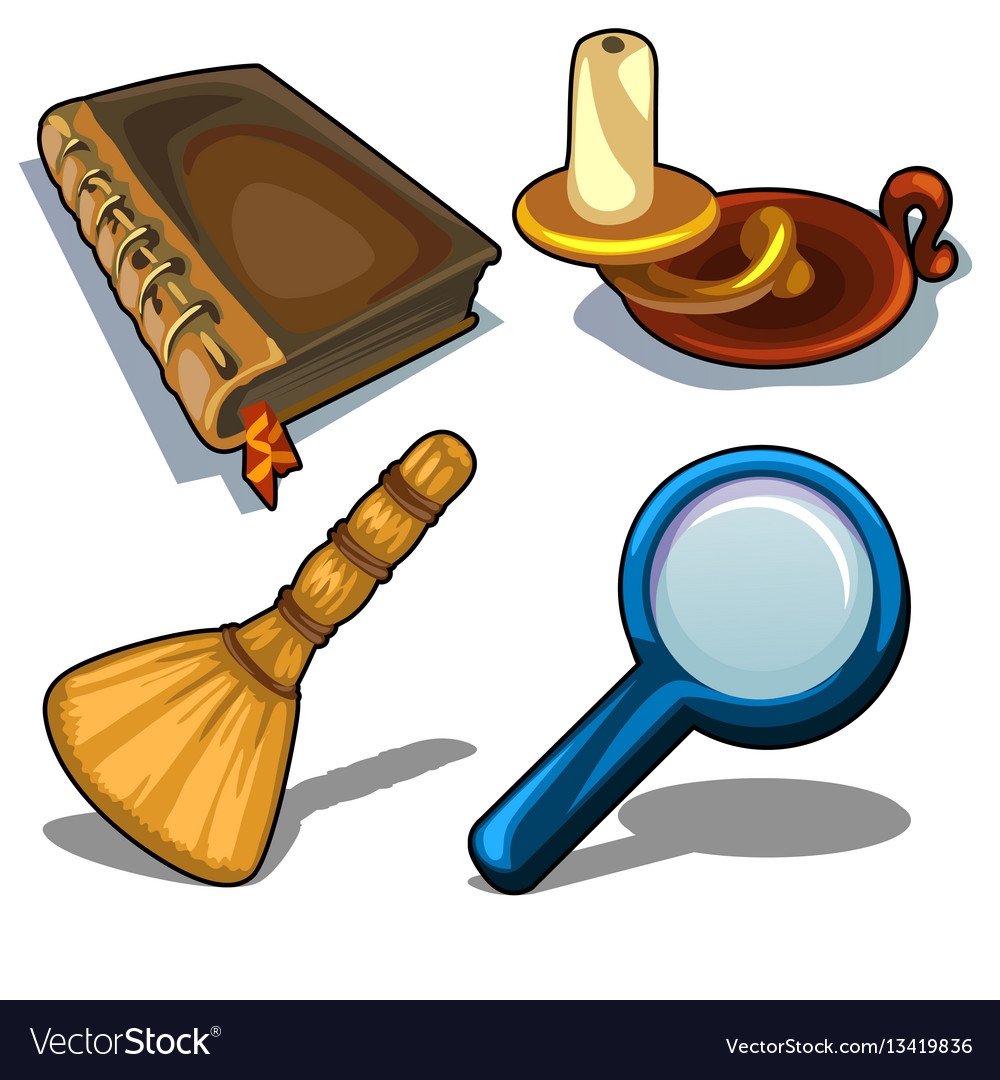 Candlestick book magnifying glass and droom