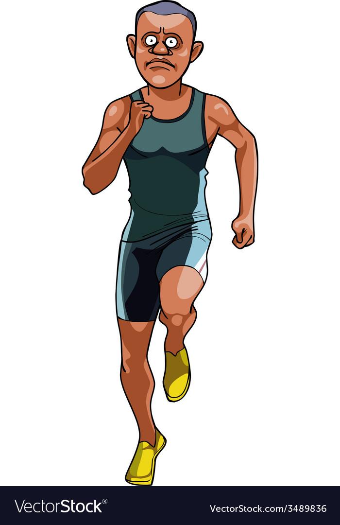 Cartoon man in sportswear running front view