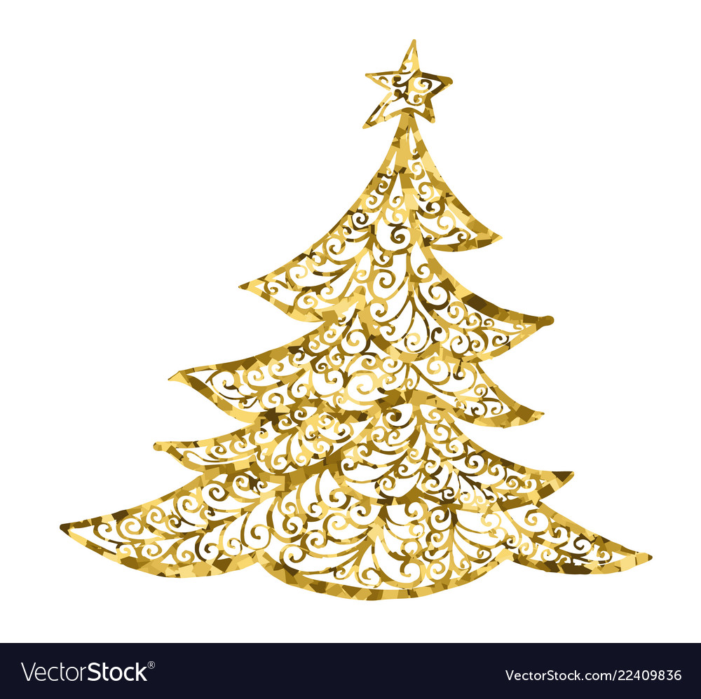 Golg christmas tree card drawing christmas
