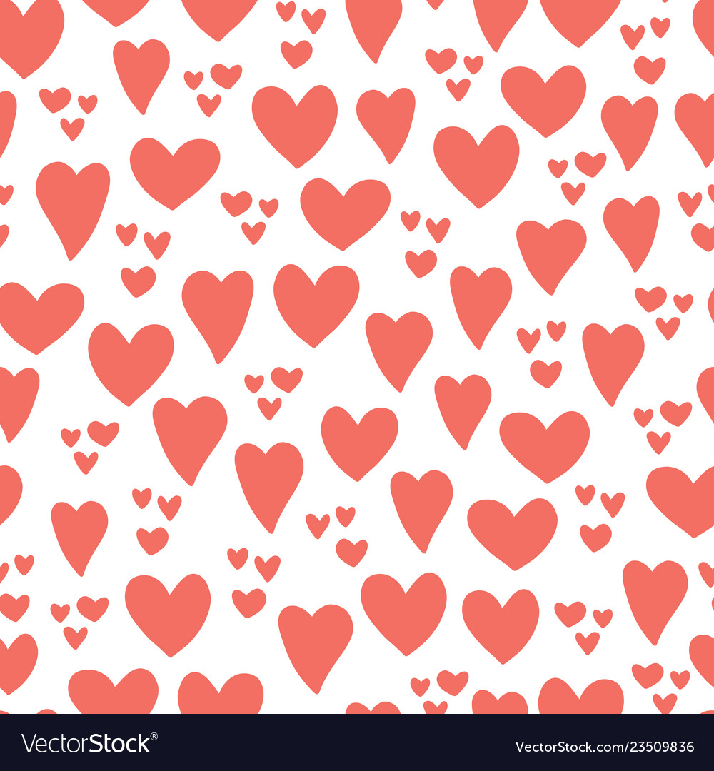 Heart seamless pattern background coral red