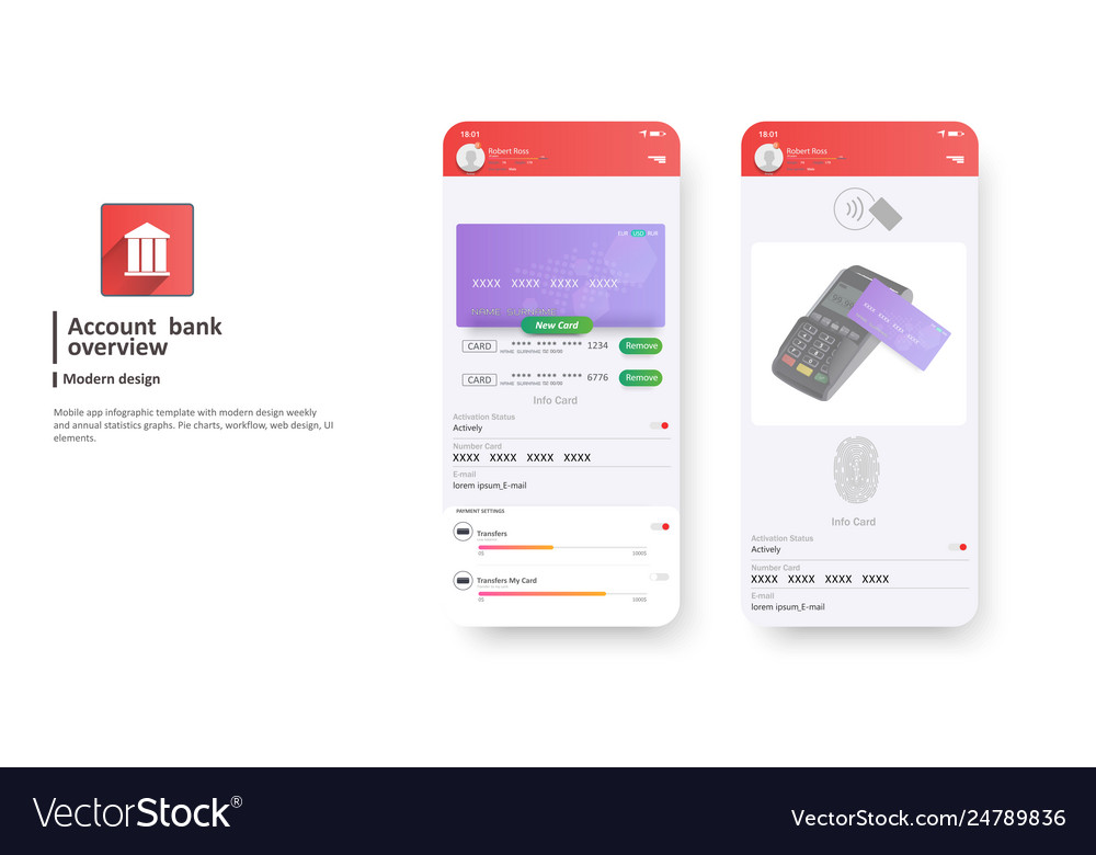 Mobile banking interface template payment
