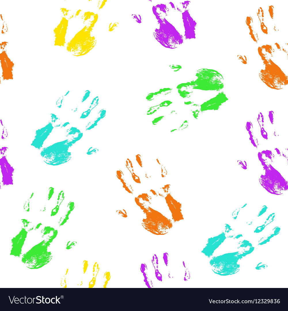 Seamless pattern colorful hand prints