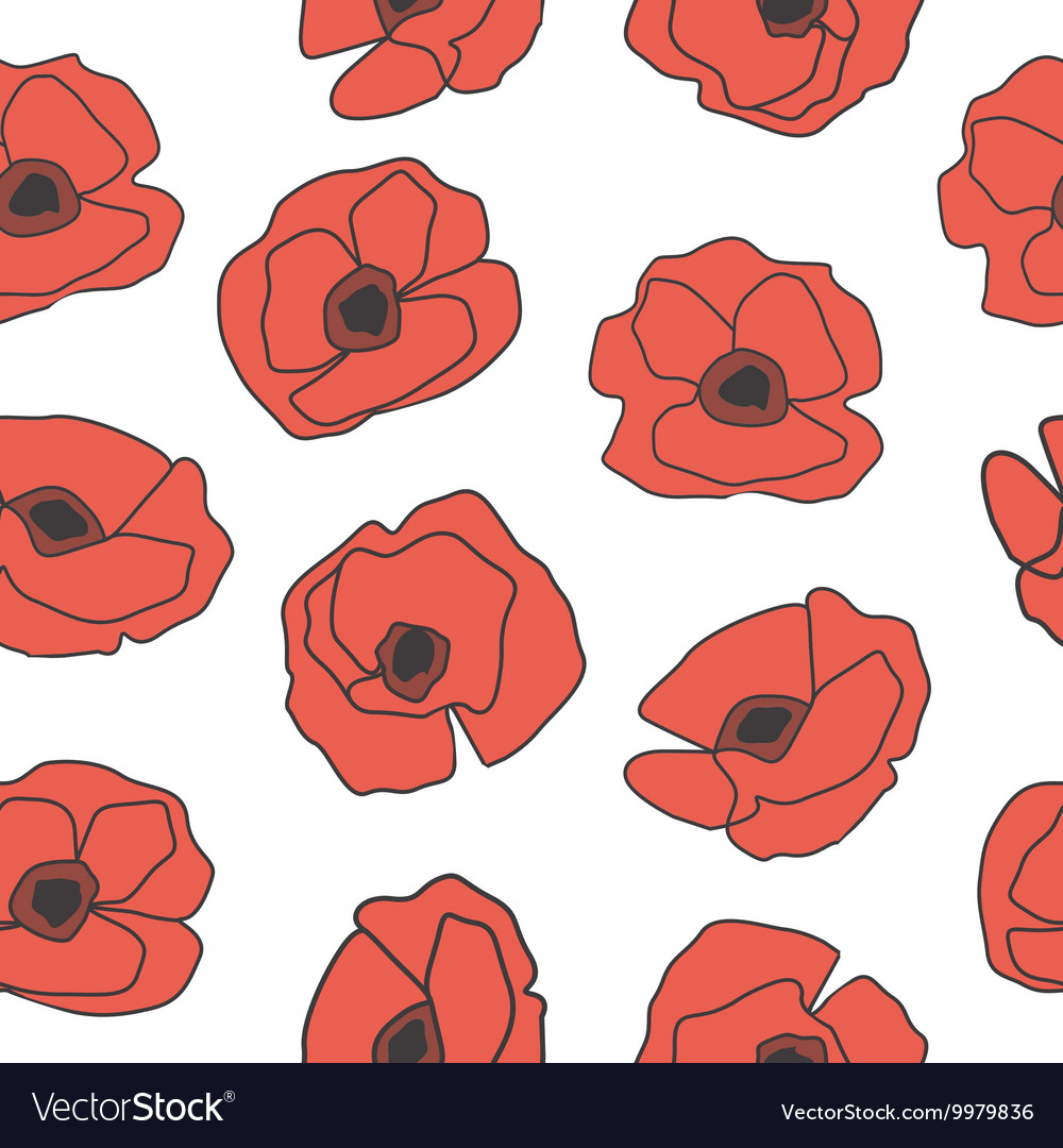 Seamless pattern with hand drawn poppy flowers