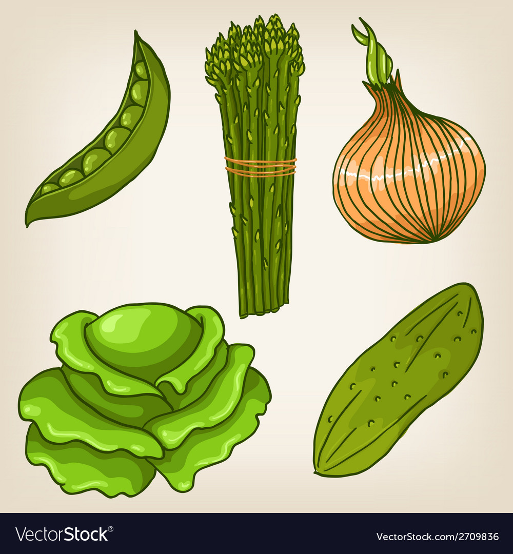 Set of cute hand drawn vegetables