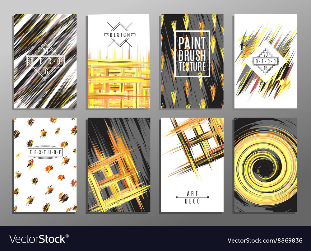 Trendy creative hand drawn cards collection