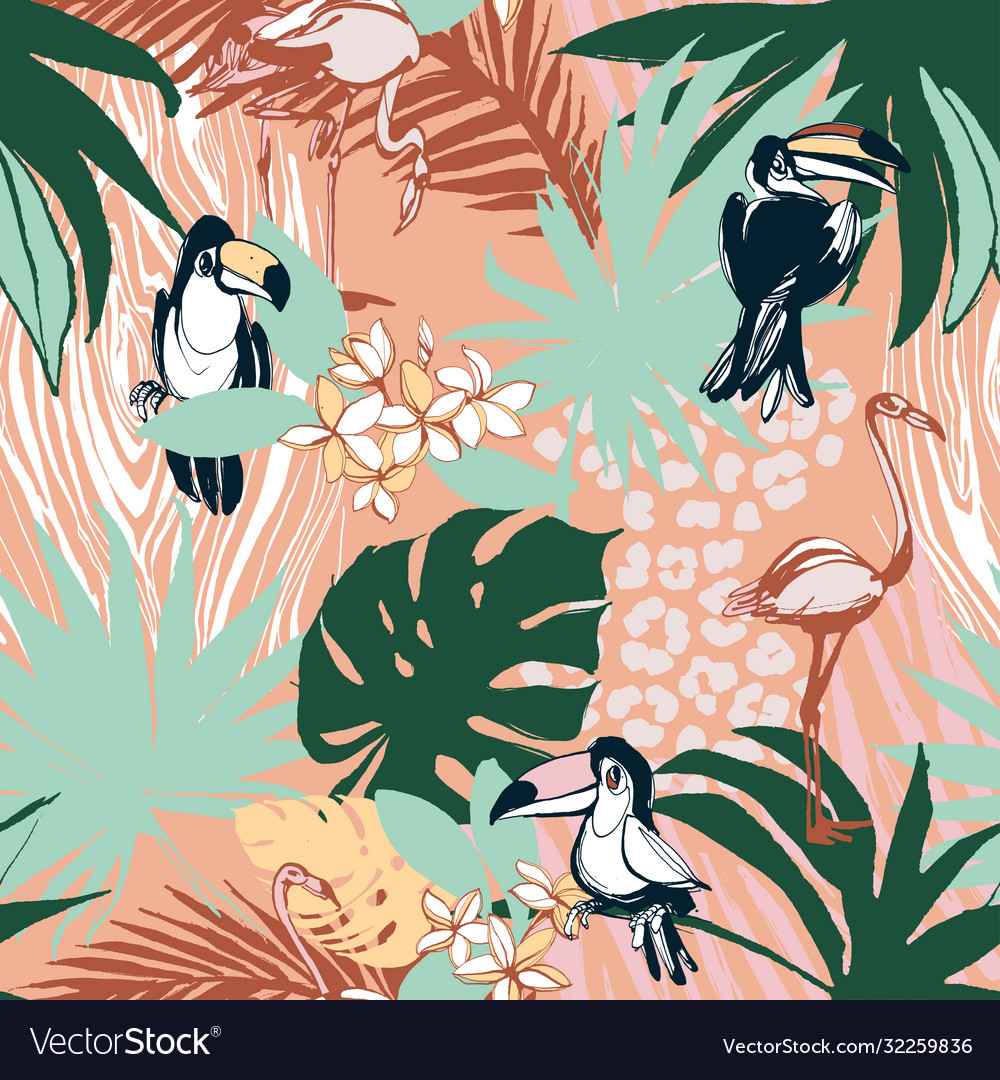 Tropical floral summer seamless color background vector