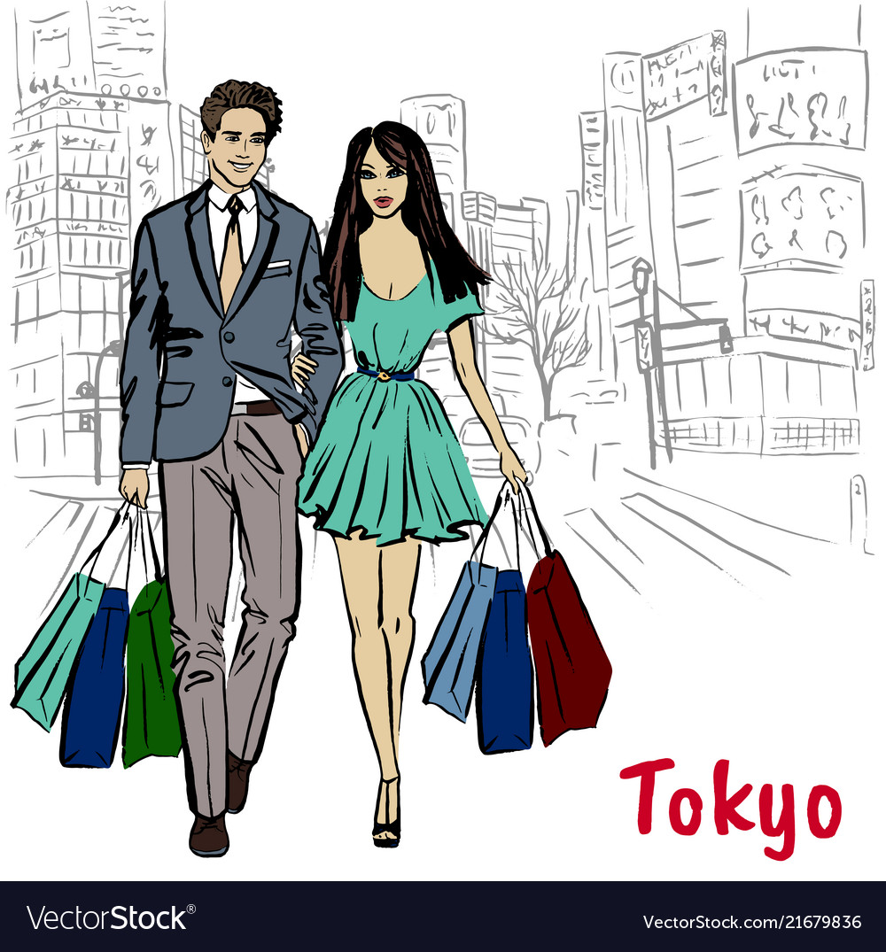 Woman and man in tokyo
