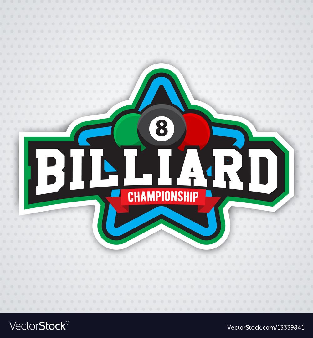 Billiards and snooker sports emblem
