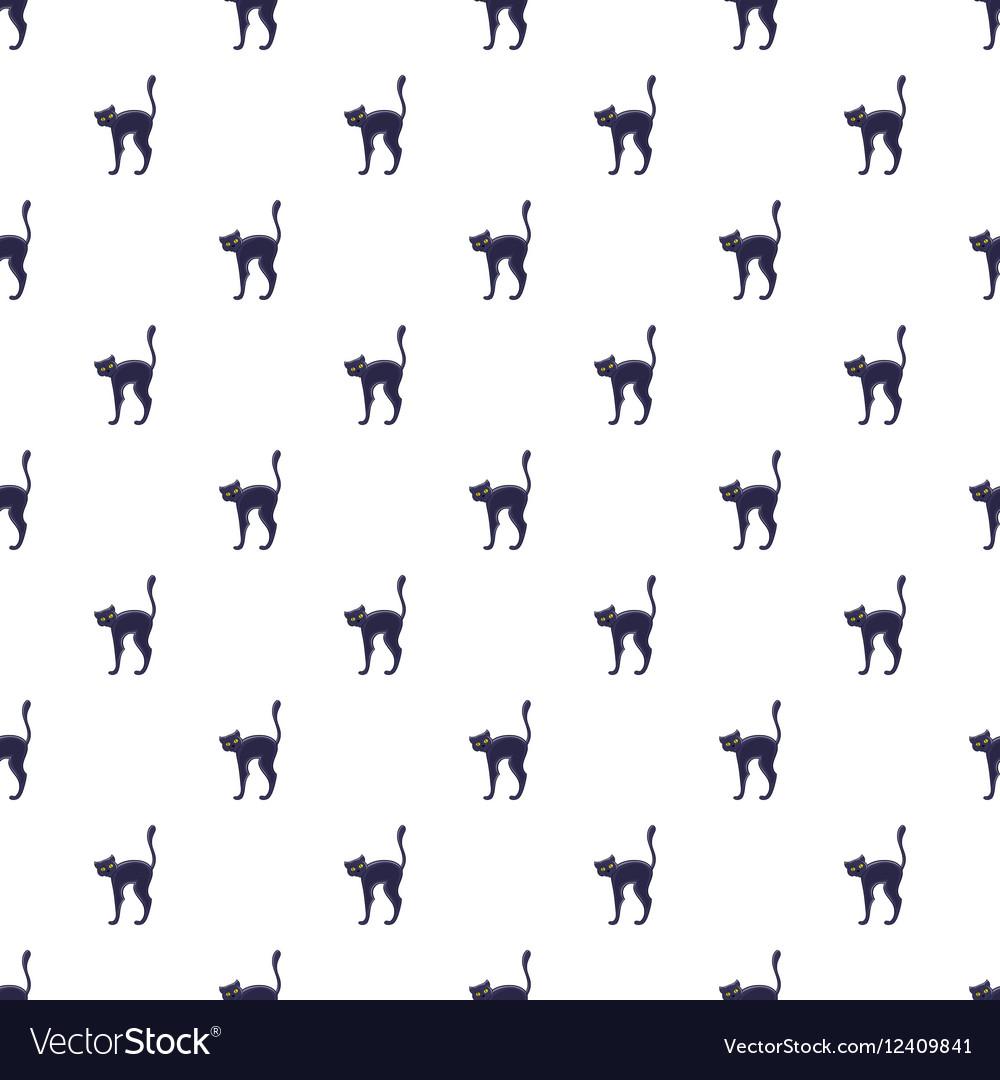 Black cat pattern cartoon style vector image