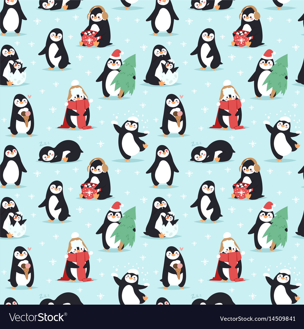 christmas penguins seamless pattern royalty free vector