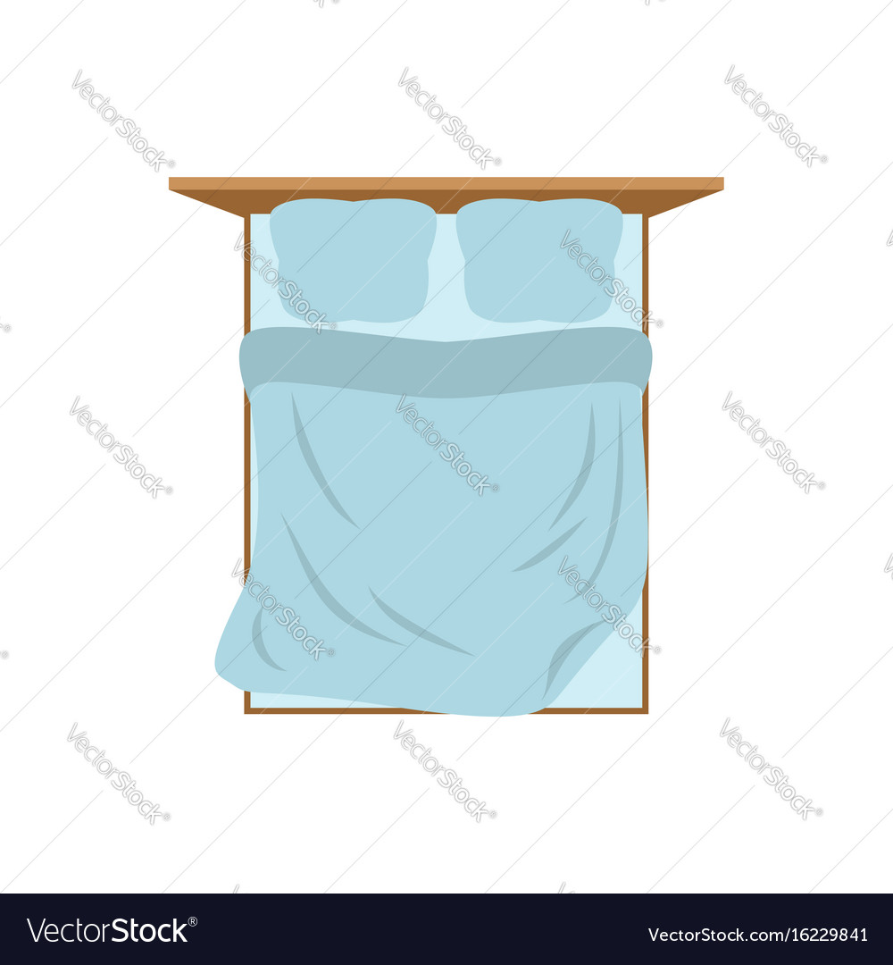 Empty bed top view isolated pillow and blanket vector image