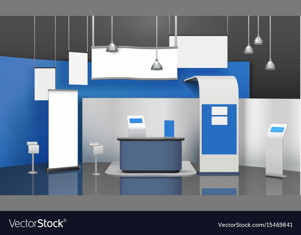 Exposition stand mockup composition vector image