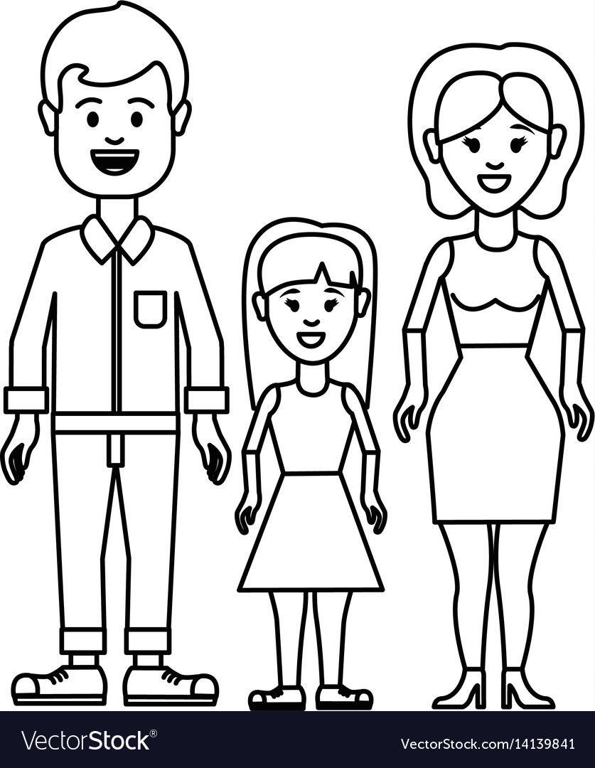 Figure couple with their daughter icon