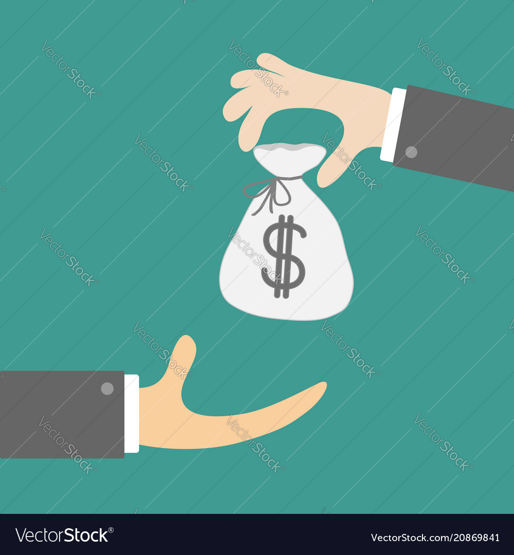 Giving taking hands with money bag with dollar