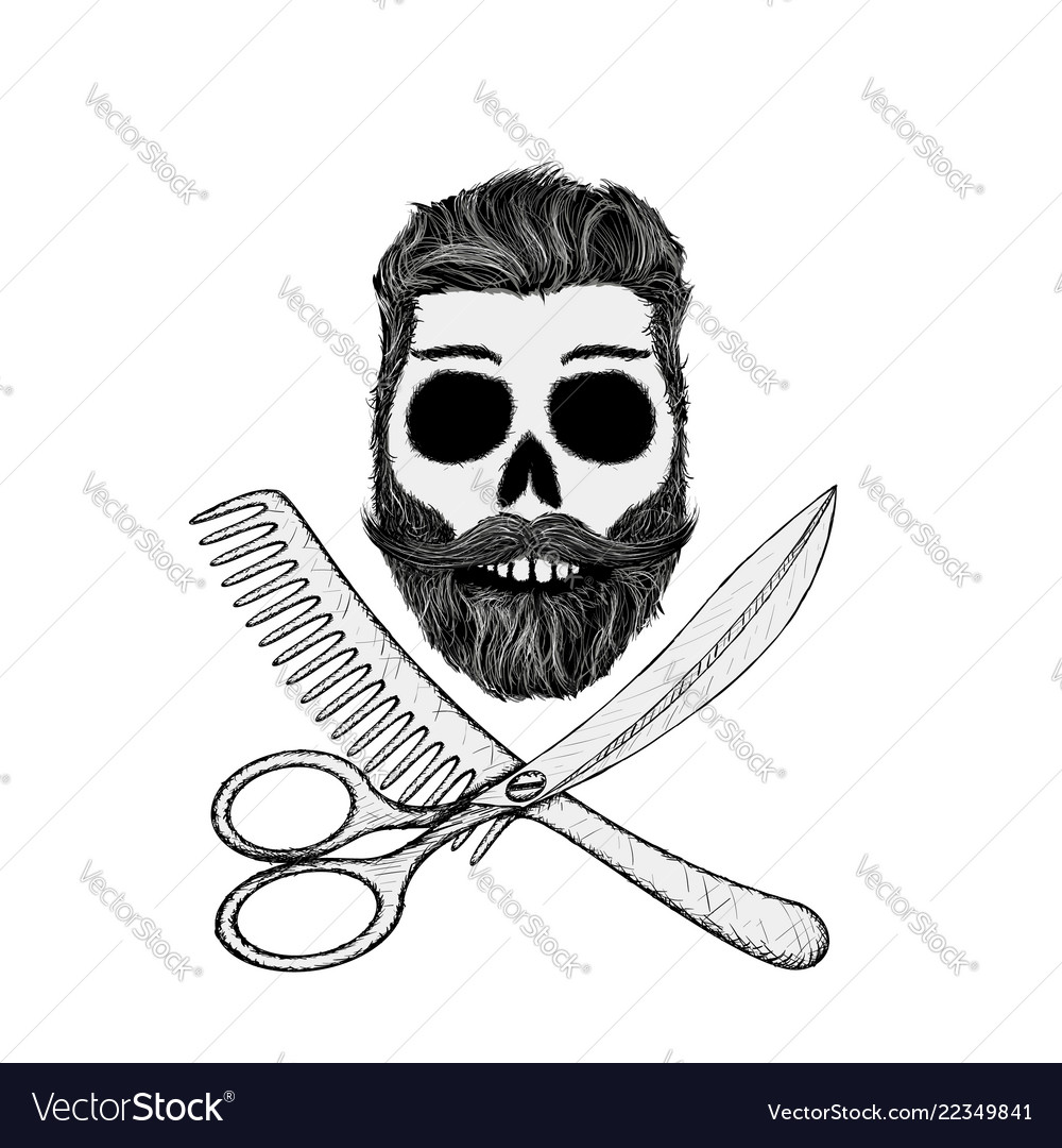 Hipster skull with hair style beard and mustache