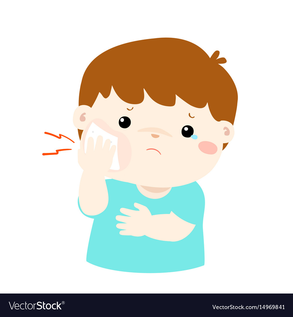 Little Boy Having Toothache Cartoon Royalty Free Vector