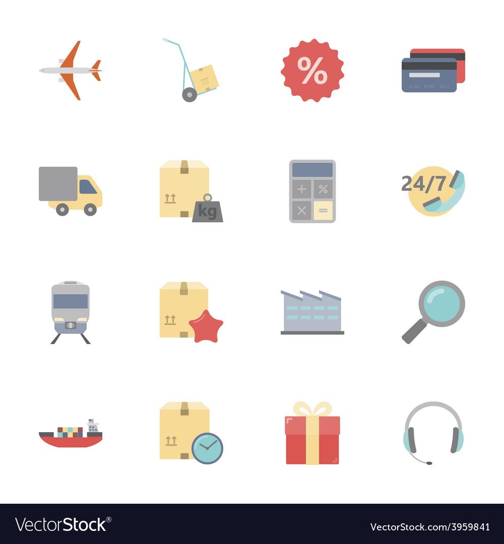 Logistics flat icons set