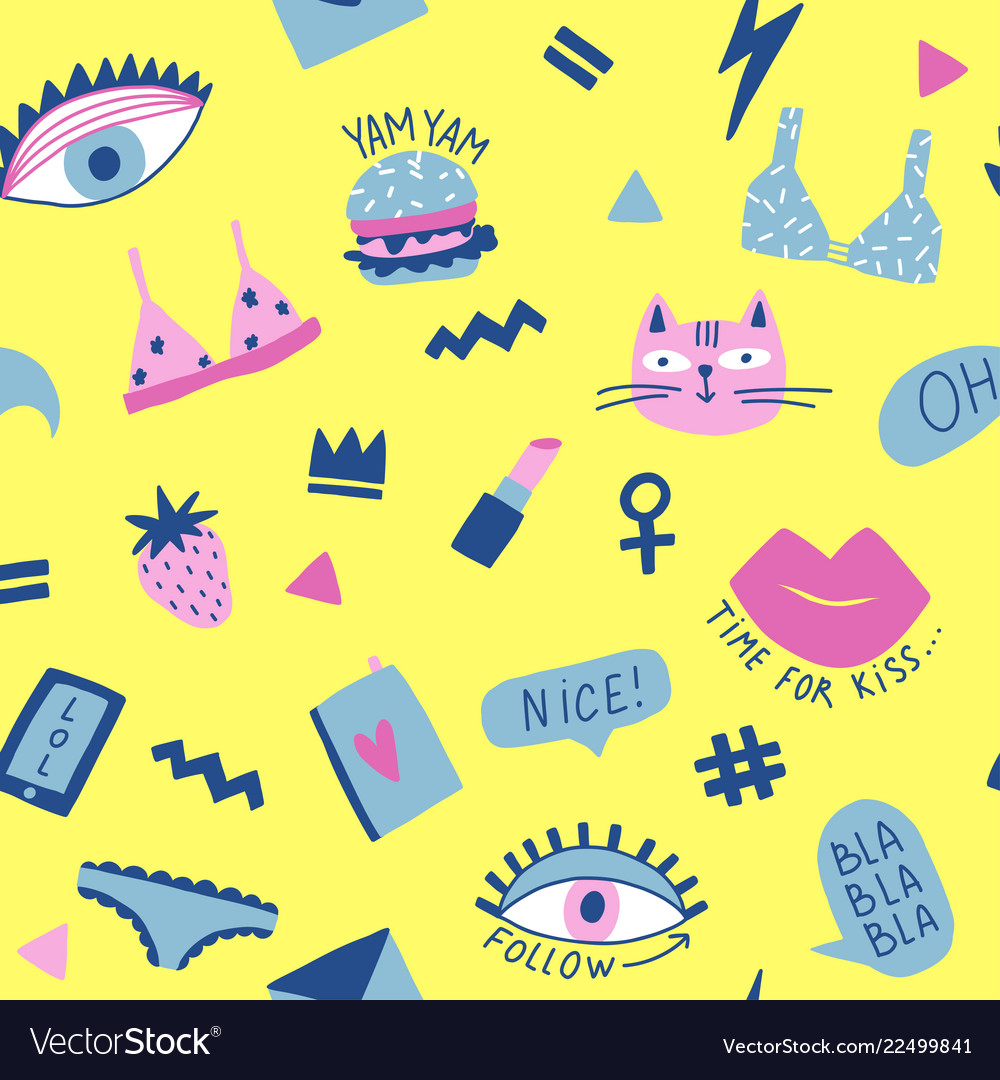 Seamless pattern with hand phrases and symbols for