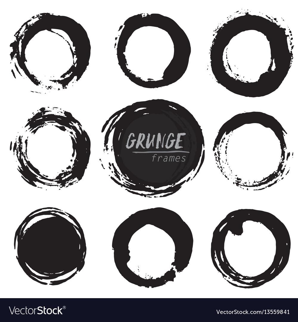 Set of round grunge shapes