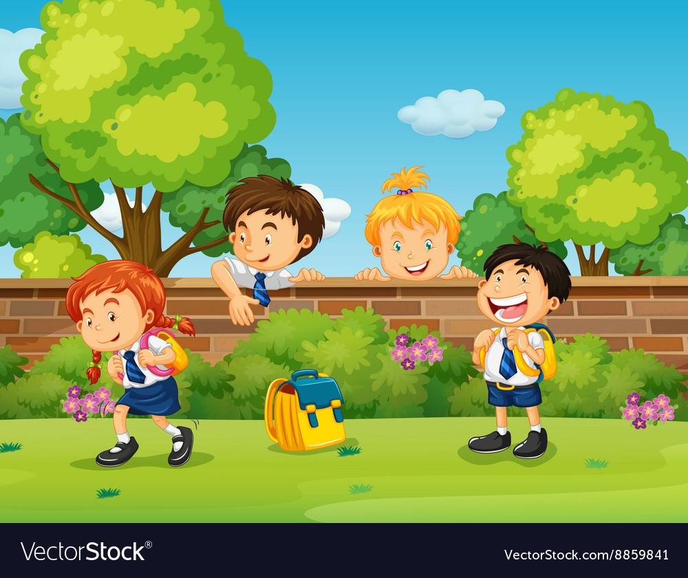 Students in uniform skipping school vector image