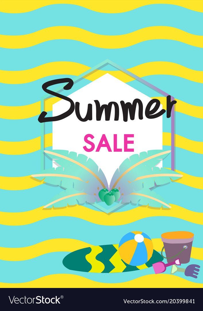 Summer sale banner template with summer acc vector image