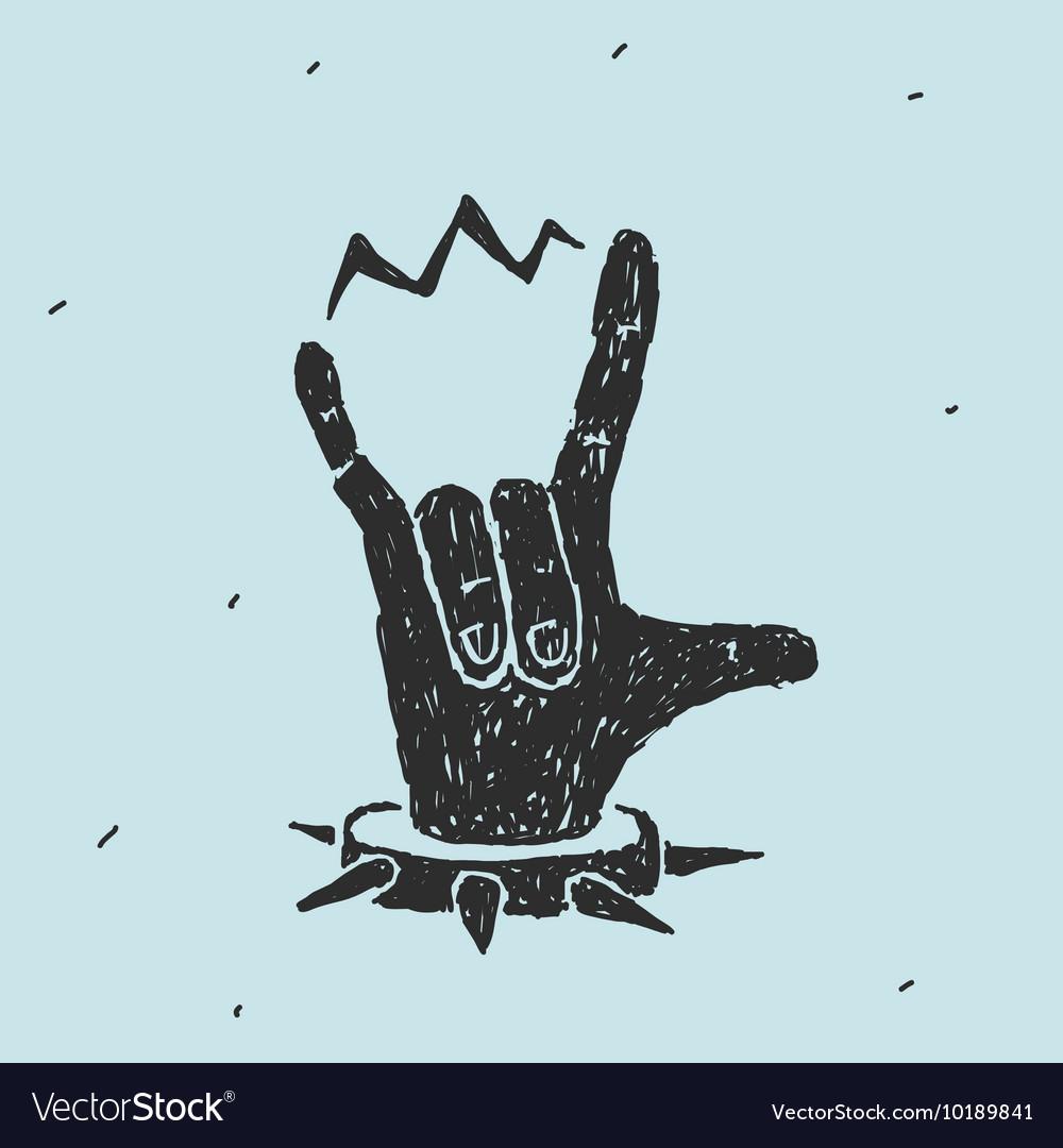 The Hand Symbol Heavy Metal Royalty Free Vector Image
