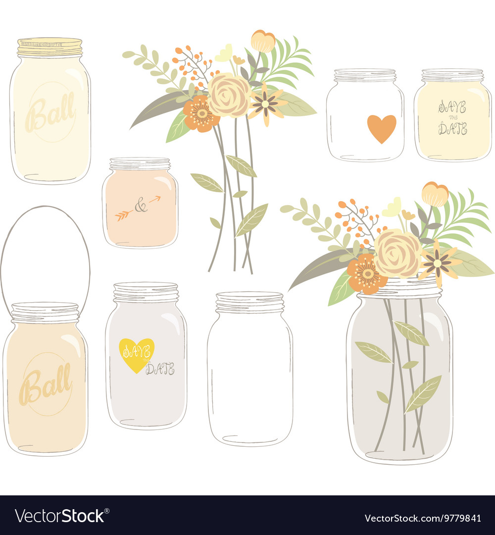 Vintage Wedding Flowers with Mason Jar