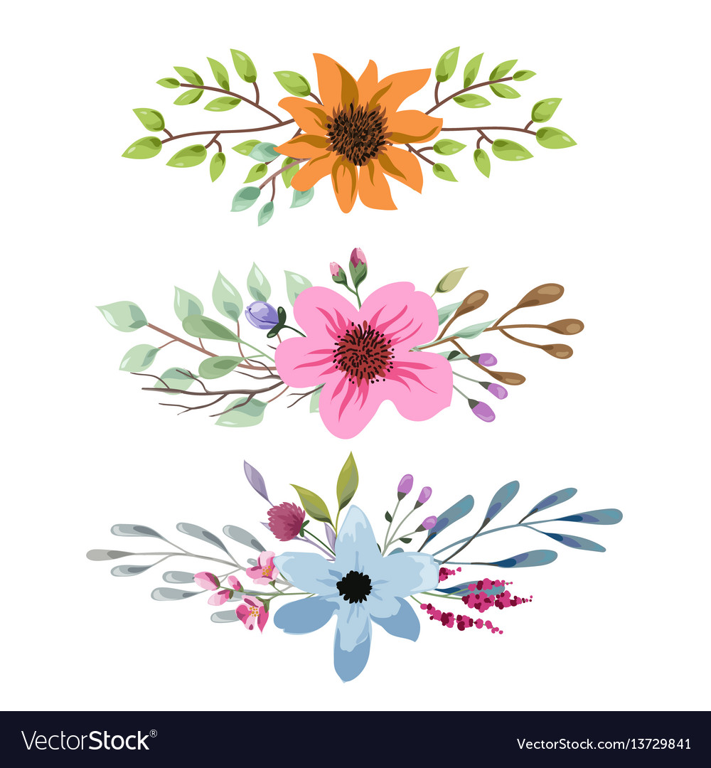 Watercolor floral bouquet with leaves and flowers