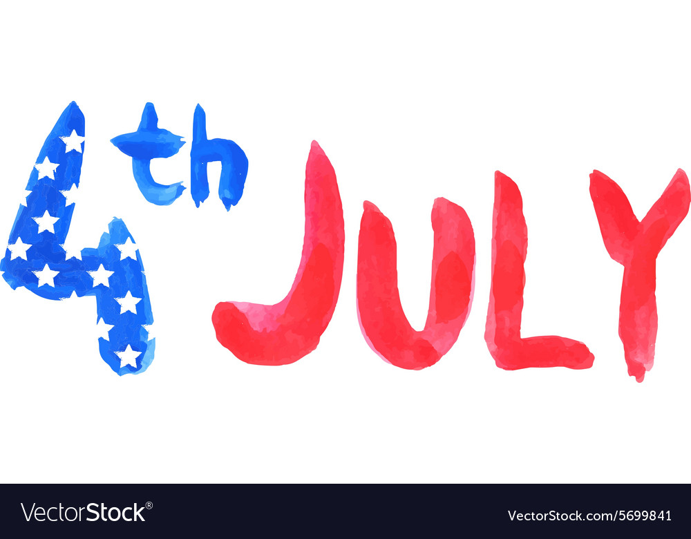 Watercolor text 4th july