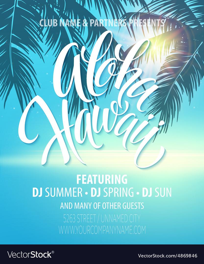 Aloha hawaii summer beach party poster