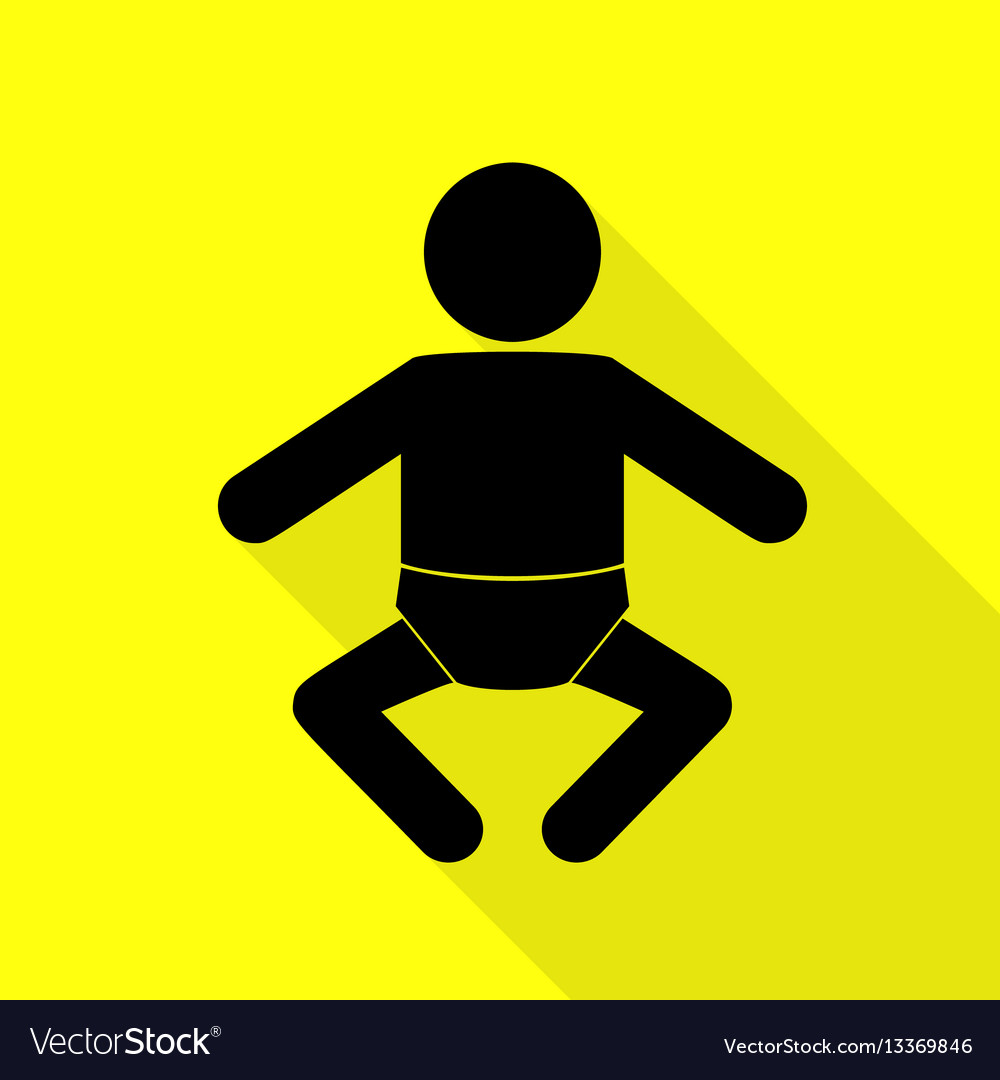 Baby sign black icon with flat style vector image