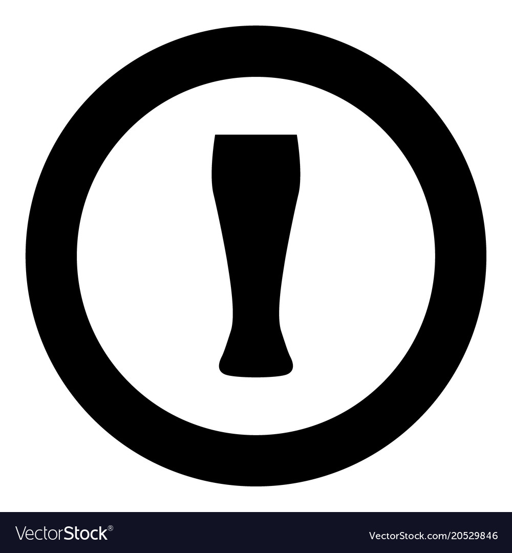 Beer glass icon black color in circle
