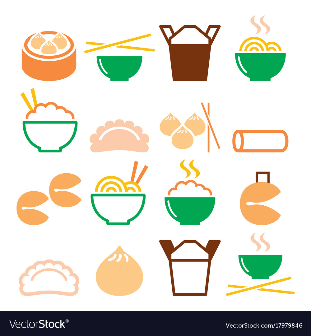 d9b04d983e0e Chinese take away food - pasta rice spring rolls Vector Image