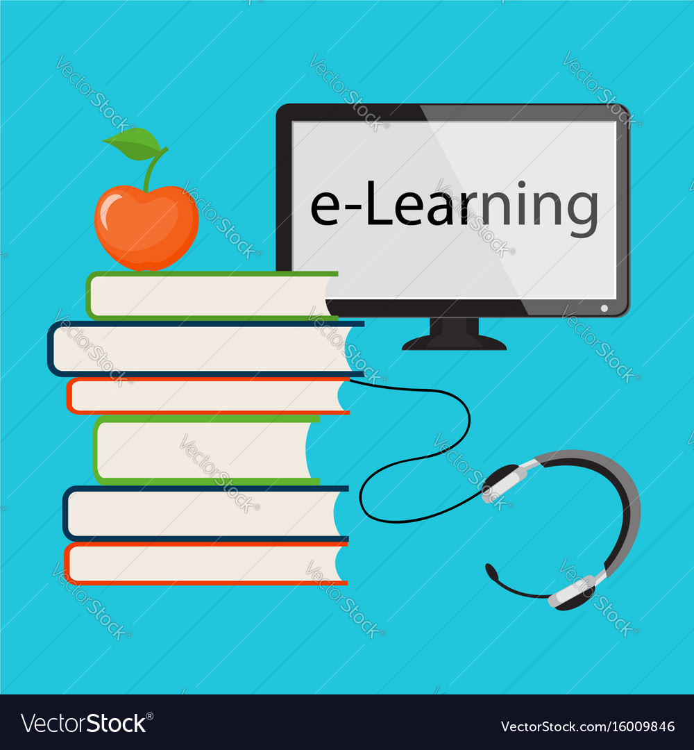 E-learning with computer monitor vector image