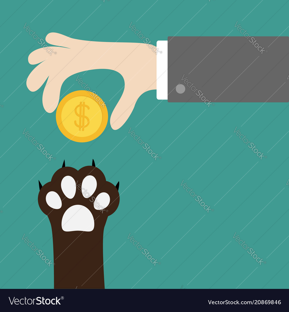 Hand giving golden coin money with dollar sign