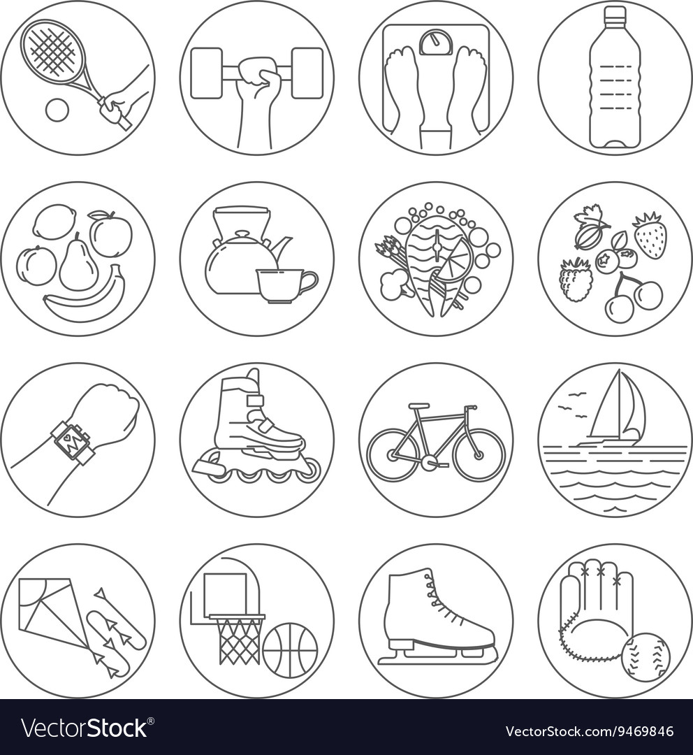 Healthy lifestyle outline icons