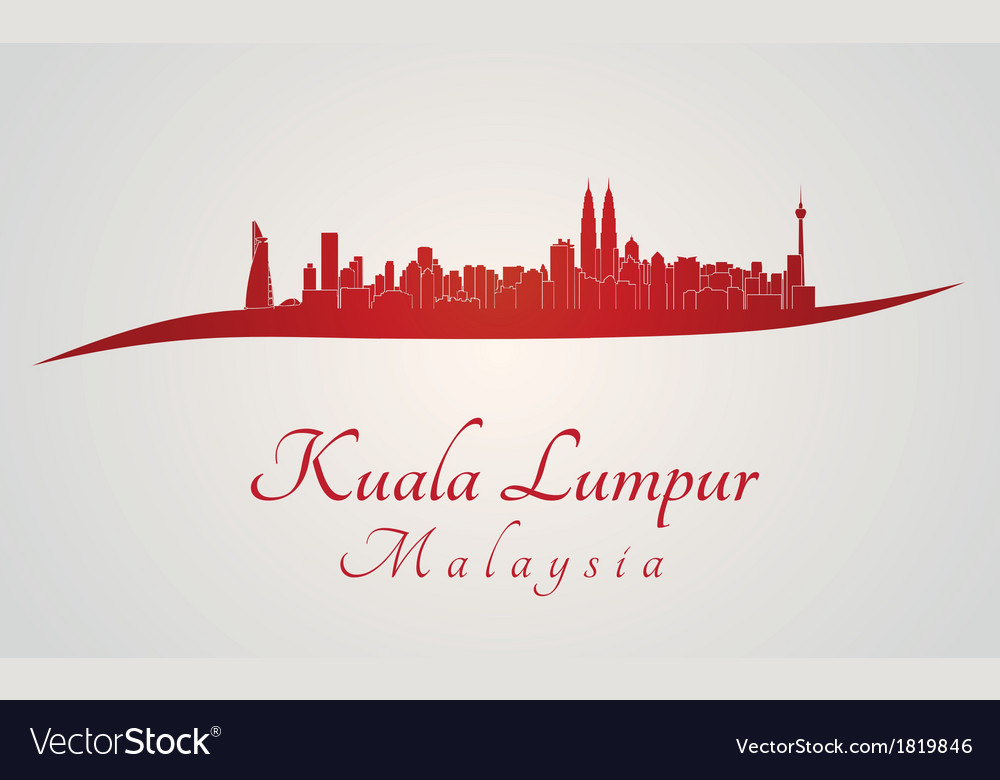 Kuala Lumpur skyline in red vector image