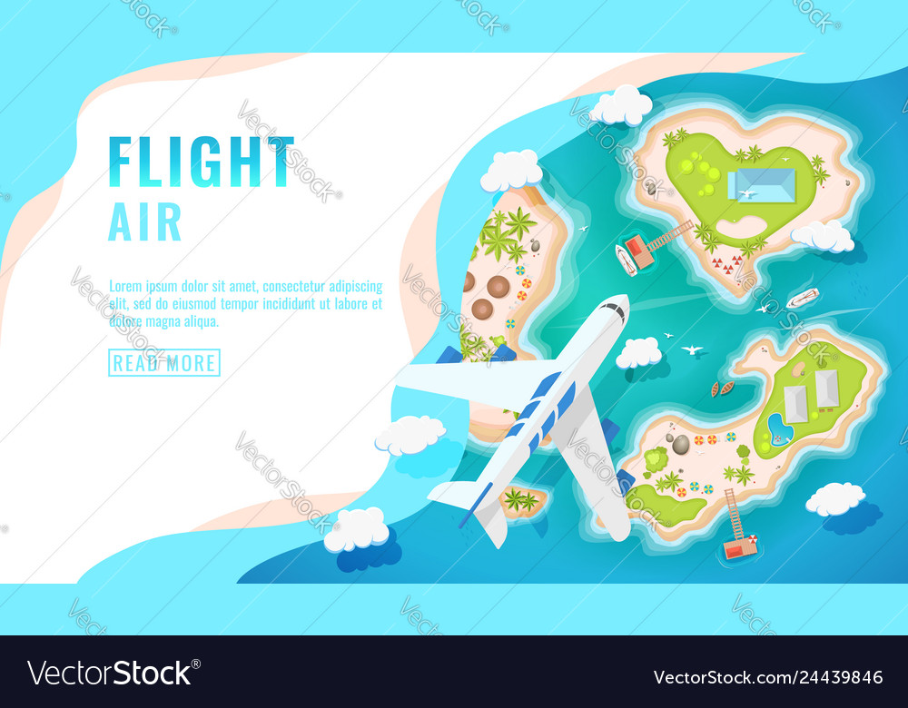 Landing page design banner with airplane flying