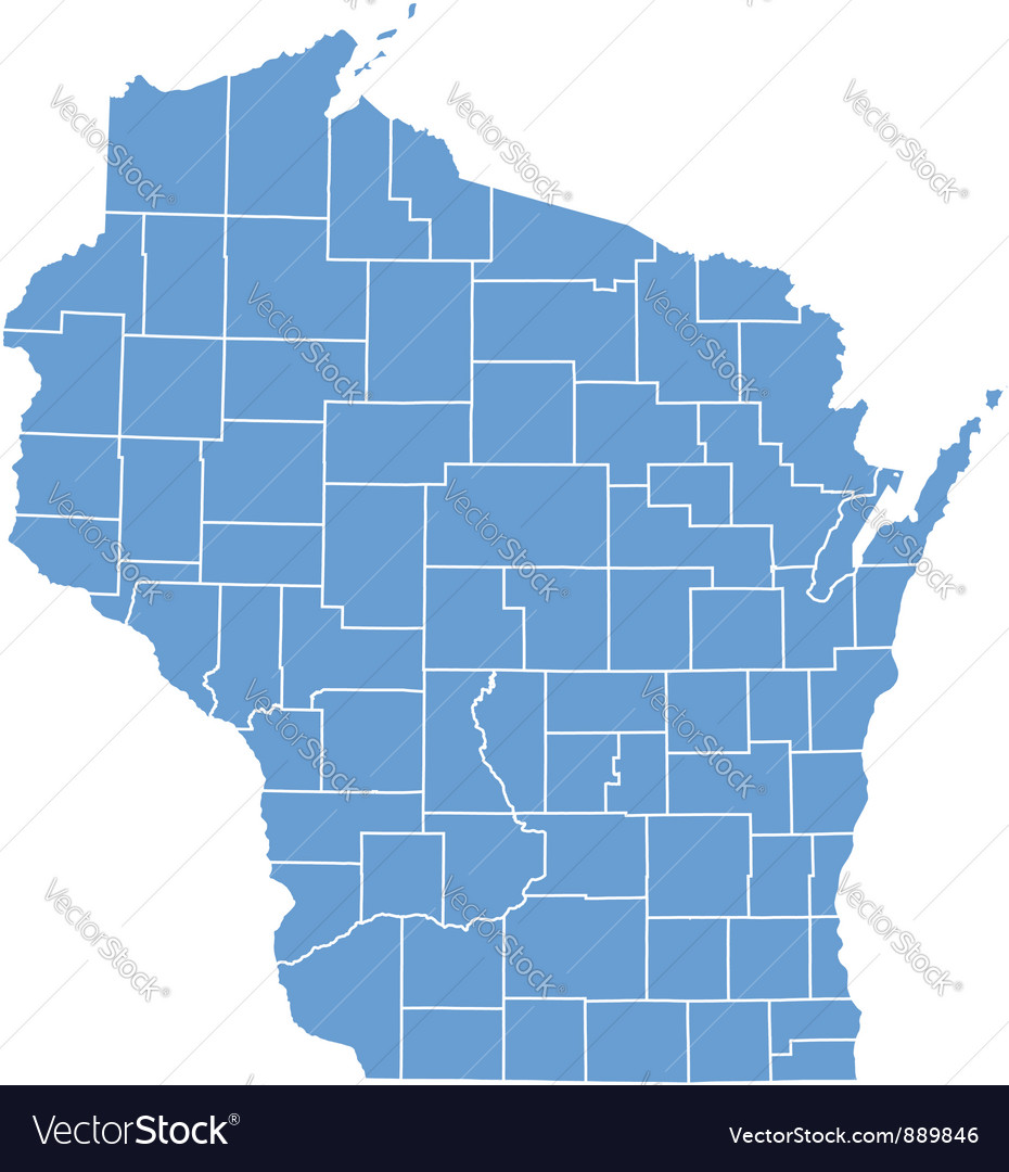 State Map Of Wisconsin By Counties Royalty Free Vector Image