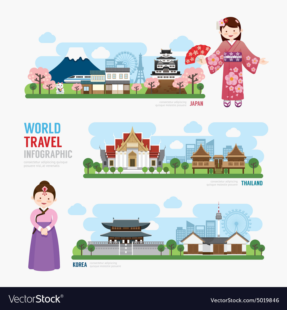 Travel and Building asia Landmark korea japan thai
