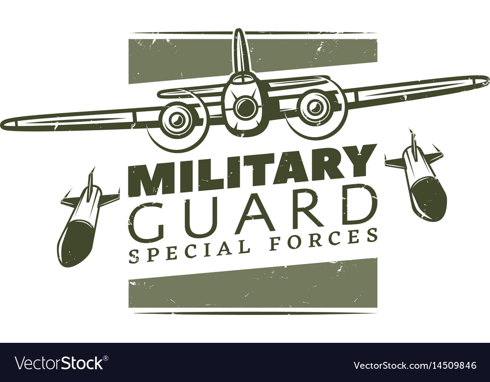 Vintage military logotype template vector image