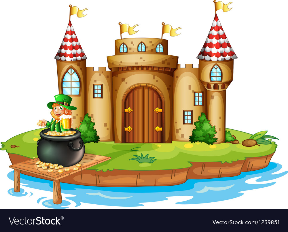 A castle with an old man inside a pot of coins vector image