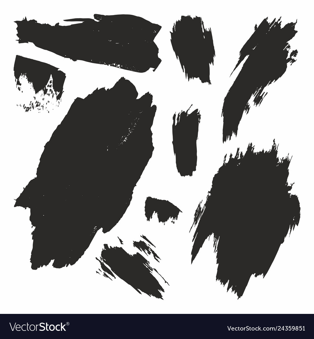 Brush strokes set hand drawing collection