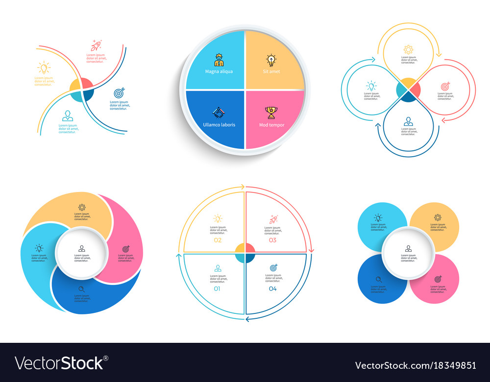 Business infographics pie charts with 4 steps